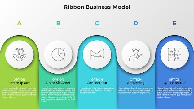 Bar chart with 5 colorful columns and paper white round elements. ribbon business model. five stages of project development. modern infographic design template. vector illustration for brochure.