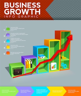Bar chart with arrow looks like office shelves and business growth concept business info graphic