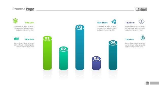 Bar chart with five elements template