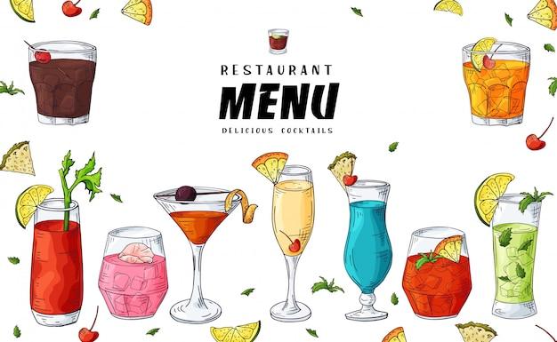 Bar cocktail drinks illustration