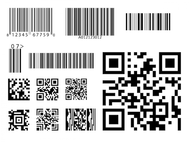 Bar code icon qr code symbol