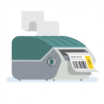 Bar code printer label printer icon illustration