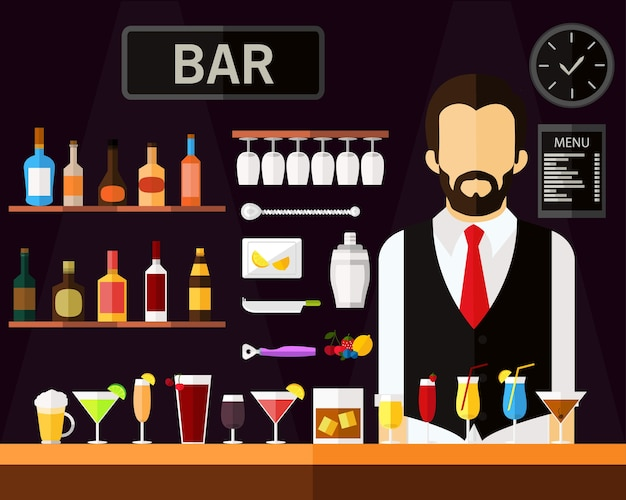Bar concept background. flat icons.