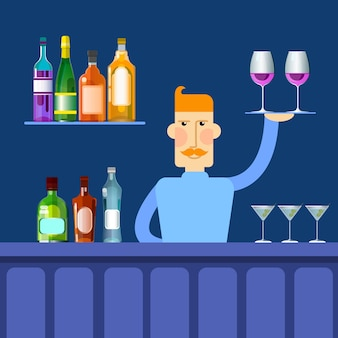 Bar counter barmen hold tray
