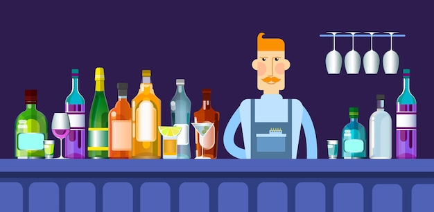 Bar counter barmen with alcohol drink glasses bottle