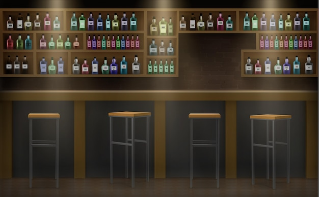 Bar counter of drinks and alcohol illustration