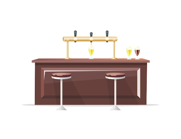 Bar counter flat color object. craft beer. beer restaurant. tavern. beverage glass. night club and pub interior isolated cartoon illustration for web graphic design and animation