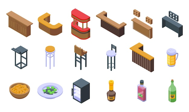 Bar counter icons set. isometric set of bar counter vector icons for web design isolated on white background