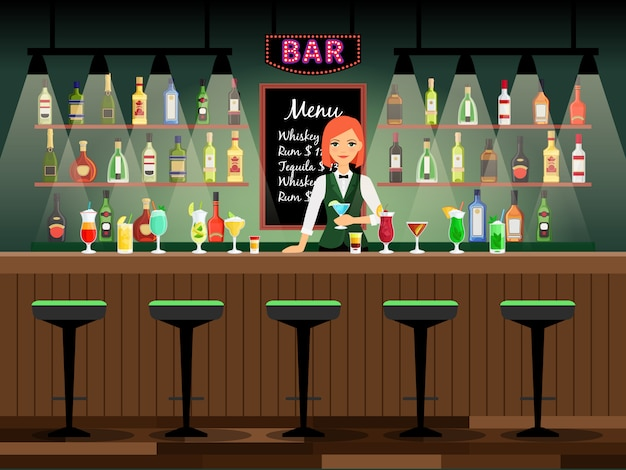Bar counter with bartender lady and wine bottles on the shelves behind her. vector illustration