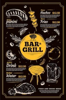 Modello di menu bar grill