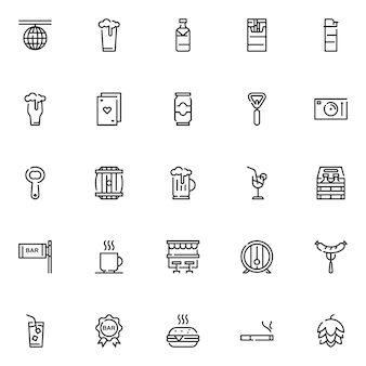 Bar icon pack, with outline icon style