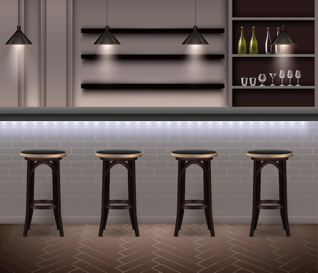 Bar interior realistic illustration in modern illustration with bar counter high chairs and shelves with alcohol bottles and wine glasses
