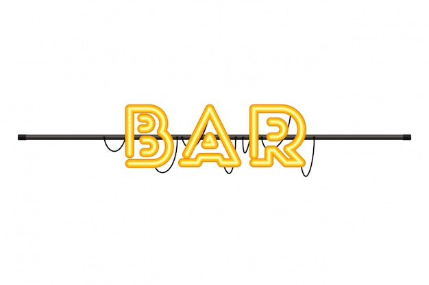Bar label in neon light isolated icon