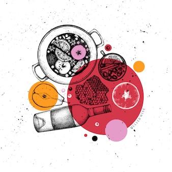バーメニュー。手描きのグリューワインのイラスト。ホットドリンクスケッチと菱形の花輪。クリスマスの食べ物や飲み物のフレーム。グリーティングカード、招待状やチラシテンプレート。