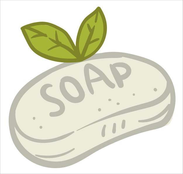 葉が付いている堅い石鹸の棒、洗浄および衛生のための製品の隔離されたアイコン。ハーブやエッセンシャルオイルを使ったクラフトや自家製の生産。ミネラルとアロマの香り。フラットスタイルのベクトル