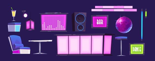 バーやナイトクラブの家具やスタッフのセット。ステージ、カクテル、カウンターデスク、テーブル、アームチェア、ハイスツールとダイナミクス、光るランプ、ストロボスコープ。インテリアデザインの要素。
