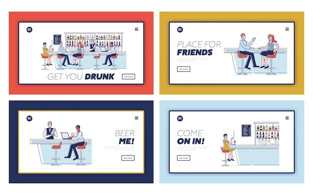 バー娯楽コンセプト。ウェブサイトのランディングページ。