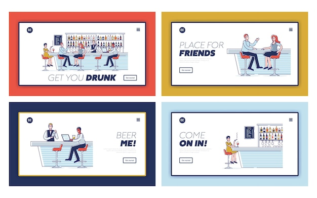 Bar pastime concept. website landing page.