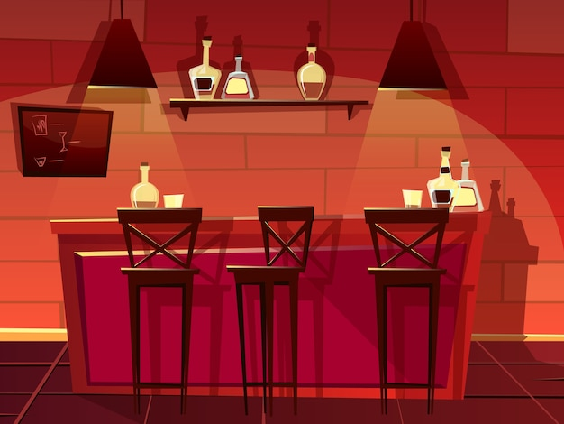 Bar or pub counter illustration. cartoon flat front interior of beer bar with chairs