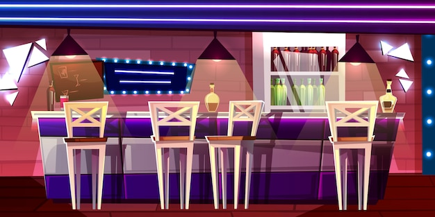 Bar or pub counter illustration in night club or hotel interior cartoon
