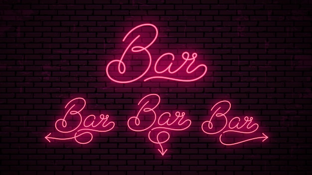 Bar - ready inscriptions template for neon signboard.