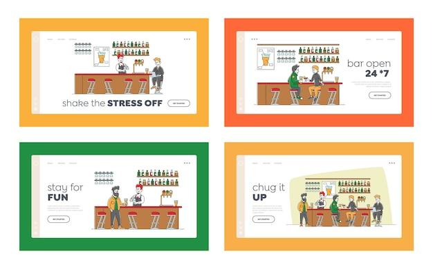 Набор шаблонов целевой страницы для отдыха в баре. люди, посещающие паб, сидят за высокими стульями, пьют алкоголь на стойке, персонаж бизнесмена работает на ноутбуке, бармен делает коктейль. линейный