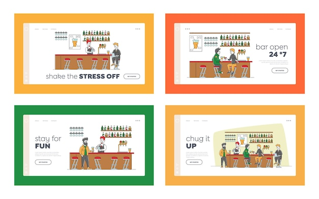 Bar recreation landing page template set. people visiting pub sit at high chairs drink alcohol on counter desk, businessman character work on laptop, barman making cocktail. linear