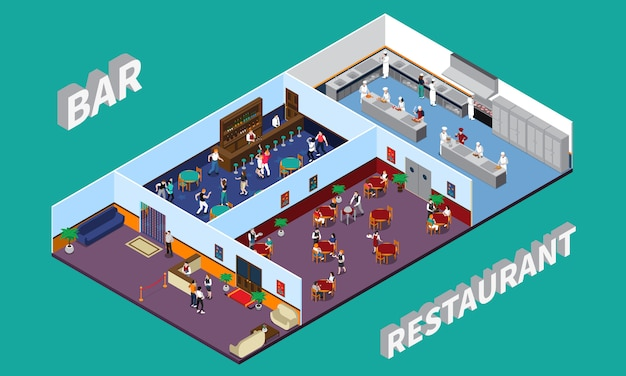 Bar restaurant isometric design