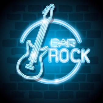 Bar rock music neon label vector illustration design