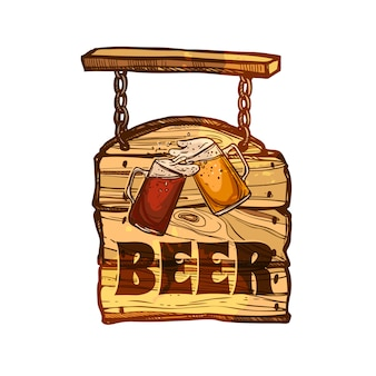 Bar sign on wooden board