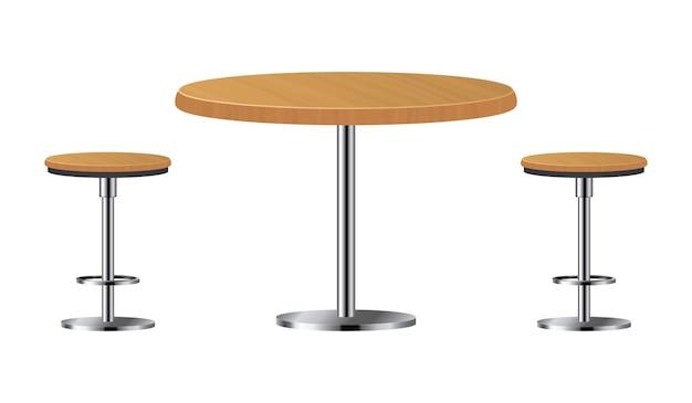 白で隔離される2つの椅子が付いている棒テーブル