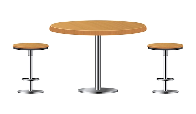 Bar table with two chairs isolated on white