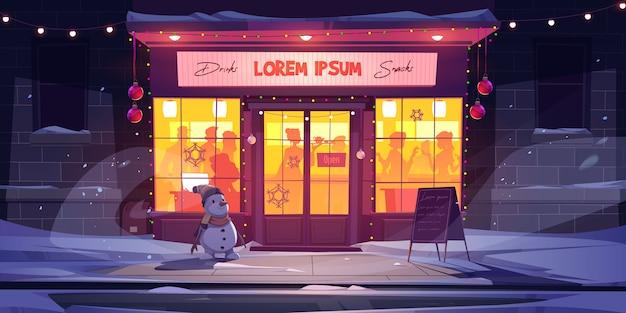 Bar at winter, night cafe at christmas eve.