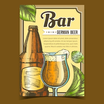 Bar with german beer advertising poster