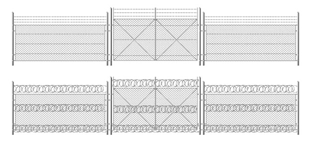Barb wire fence, grid with gate. three segments silver colored fencing, perimeter protection barrier separated with metal steel poles