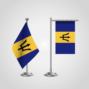 Barbados country flag on pole