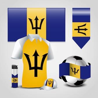 Barbados country flag set