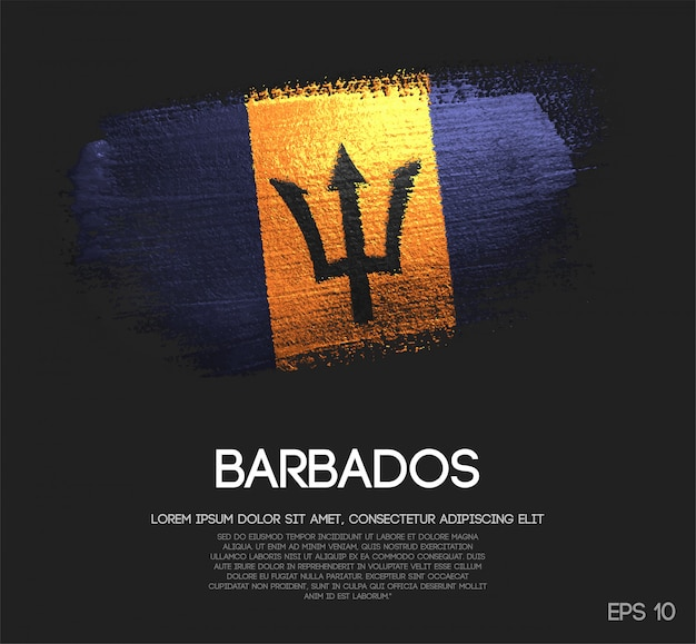 Barbados flag made of glitter sparkle brush paint vector