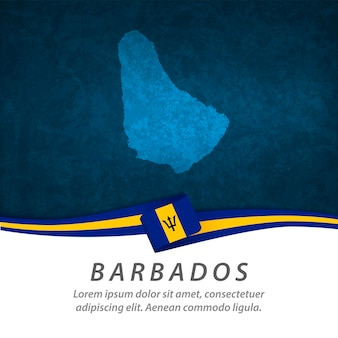 Barbados flag with central map
