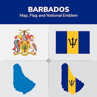 Barbados map flag and national emblem