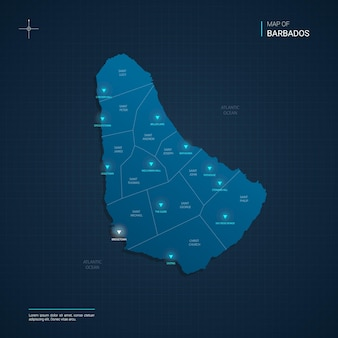 Barbados map illustration with blue neon lightpoints - triangle on dark blue gradient. administrative divisions, cities, borders, capital.