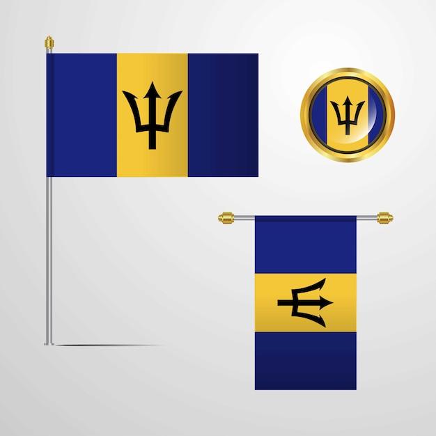 Barbados waving flag design with badge vector