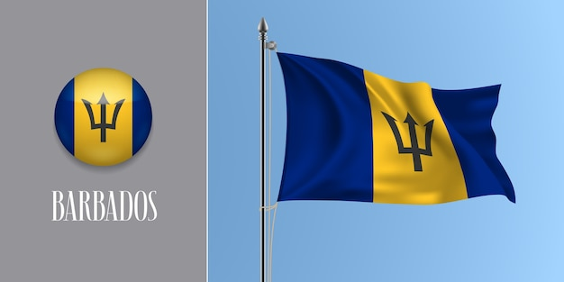 Barbados waving flag on flagpole and round icon  illustration