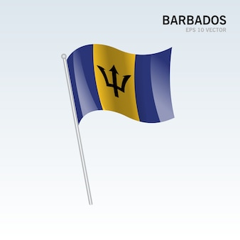 Barbados waving flag isolated on gray background