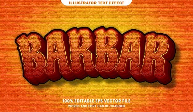Редактируемый эффект стиля текста barbar 3d