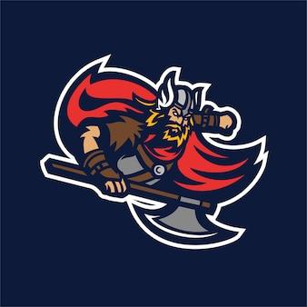 Barbarian knight viking esport gaming mascot logo template