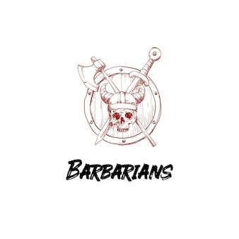 Barbarian skull with viking weapons logo