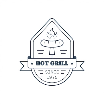 Barbecue badge design, vector line art illustration