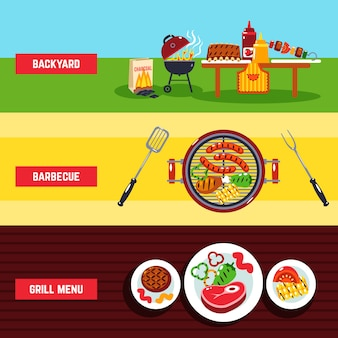 Barbecue banner set