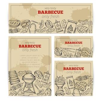 バーベキューバナー。肉、鶏肉、魚、ソーセージ、道具を使ったバーベキューパーティーテンプレート。手描きスケッチイラスト。